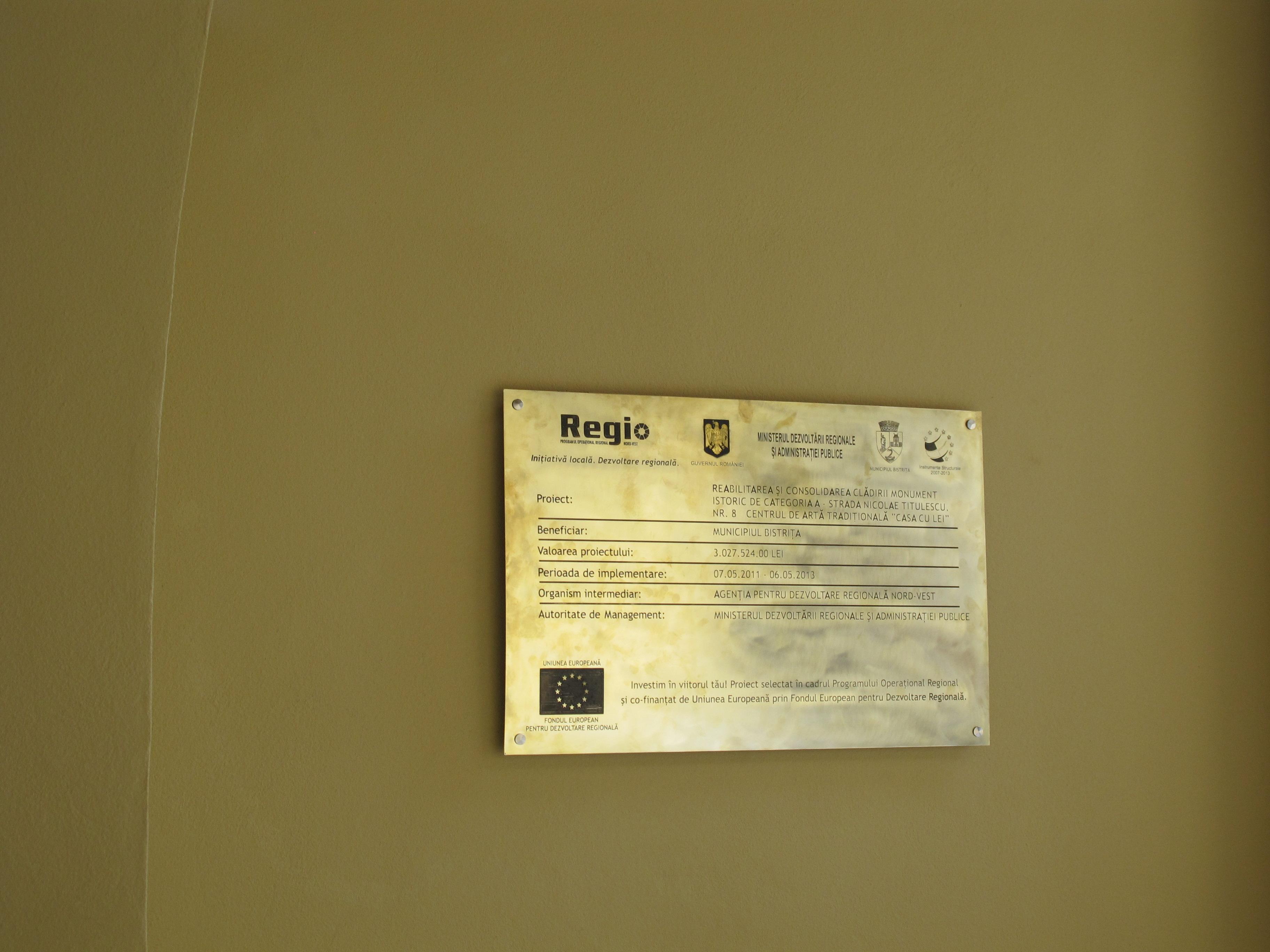 gravare alama placa 70x45cm fonduri europene, regio
